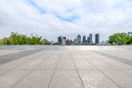 Photo for Shanghai skyline and empty square floor in city park - Royalty Free Image
