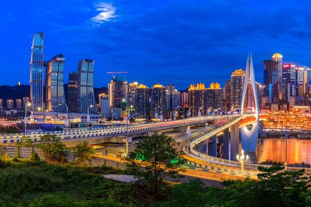 Photo for Beautiful cityscape and modern architecture in chongqing at night,China. - Royalty Free Image