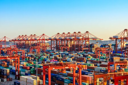 Photo for Shanghai, China - November 15, 2019: Shanghai Yangshan Deepwater Port Container Cargo Terminal, Shanghai has become one of the world's largest container port. - Royalty Free Image