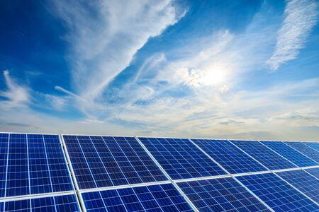 Photo pour Photovoltaic solar power panel on sky background,green clean alternative energy concept. - image libre de droit