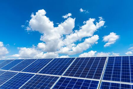 Photo for Photovoltaic solar power panel on sky background,green clean alternative energy concept. - Royalty Free Image