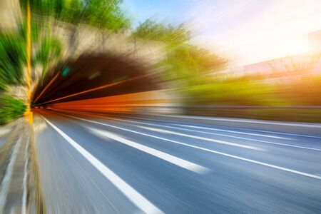 Photo for Empty tunnel road with motion blur. - Royalty Free Image