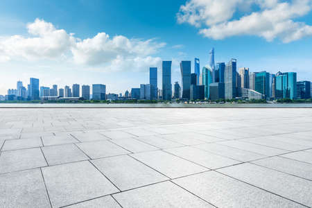 Photo for Empty floor and modern city skyline with buildings in Shanghai,China. - Royalty Free Image