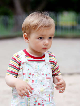 1,5 years old child on a walk. Summer