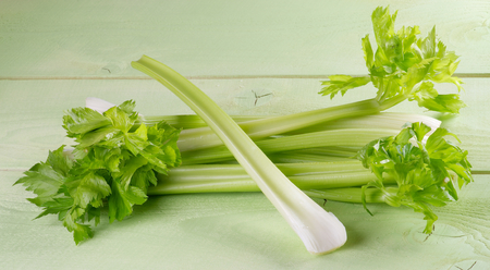 Fresh Raw Celery Stalks with Leafs isolated on Light Green Wooden background