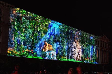 Photo for SOFIA, BULGARIA - MAY 9, 2018: Building of Council of Ministers in Sofia, Bulgaria. 3D Projection Mapping for the Day of Europe. - Royalty Free Image