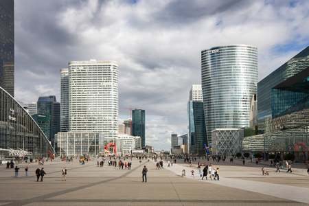 France, Paris - April 2008: View from the steps of the Grande Arche de la Defense to the Parvis de La Defense