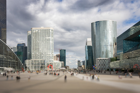 View from the steps of the Grande Arche de la Defense to the Parvis de La Defense