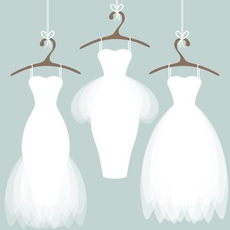 Ilustración de Wedding dresses on hangers. Pastel background - Imagen libre de derechos