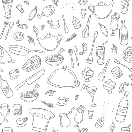 Food and drink outline seamless pattern. Hand drawn kitchen background in black and white. Vector illustration