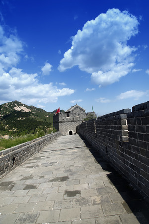 The Great Wall of China, under the blue sky white clouds