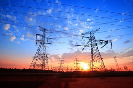 Photo for The silhouette of pylon, the pylon in the evening - Royalty Free Image