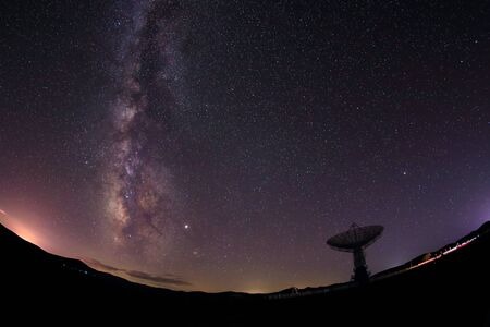 Photo for Radio telescopes and the Milky Way at night - Royalty Free Image