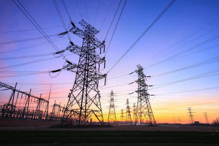 Photo for The power supply facilities of contour in the evening - Royalty Free Image