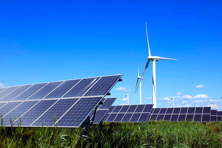 Photo for Solar photovoltaic panels and wind turbines. Energy concept - Royalty Free Image