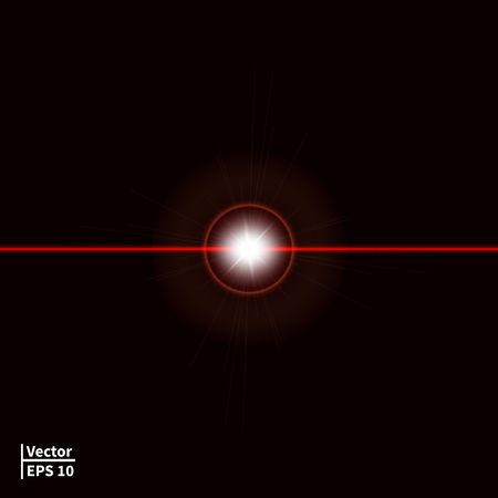 Illustration pour illustration of a red laser beam with a glare. Laser ray on a dark background. Glowing red ball. - image libre de droit