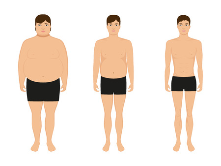 Ilustración de Vector illustration cartoon guy losing weight. Slimming man. Male lose weight, grows thin. Picture human body before and after diet and fitness. Comparison fat and athletic boy. Drawing isolated. - Imagen libre de derechos