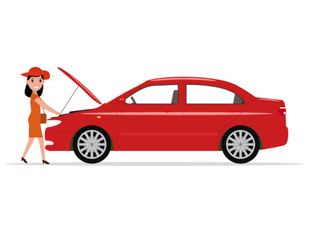Illustration for Vector cartoon woman opened hood of the automobile - Royalty Free Image