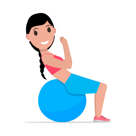 Vector cartoon girl doing exercises fitness ball