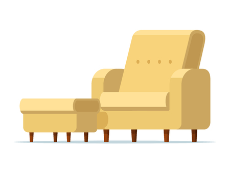 Illustration for Vector illustration of a light yellow chair with a padded stool. Isolated white background. Empty armchair with a soft ottoman. Sofa chair with footstool. Flat style. - Royalty Free Image