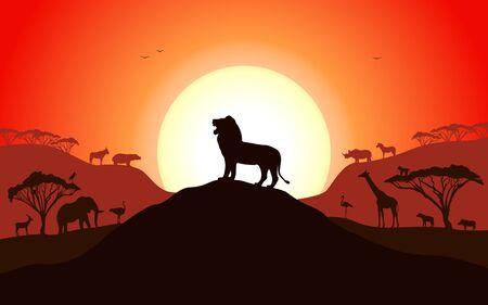 Ilustración de Roaring silhouette of a lion standing on a hill - Imagen libre de derechos