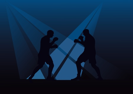 Two persons engaged in boxing against a dark background