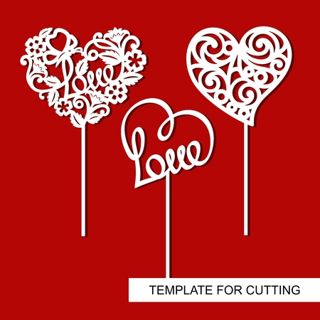 Ilustración de Set of toppers. Hearts. Decoration for Valentine's Day. Template for laser cutting, wood carving, paper cut and printing. - Imagen libre de derechos