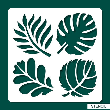 Illustration for Stencil. Floral theme. Silhouettes of tropical palm leaves, monstera, jungle leaves, leaves maple, oak, aspen. Template for laser cutting, wood carving, paper cut and printing. Vector illustration. - Royalty Free Image