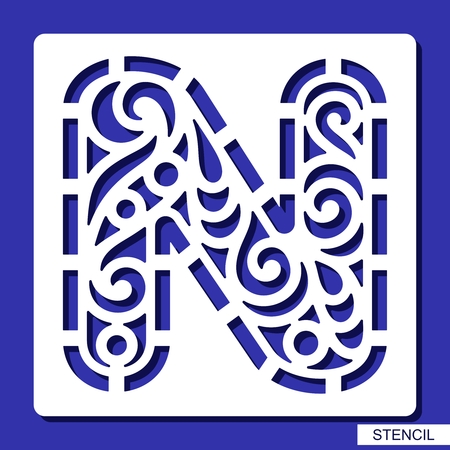 Stencil  Alphabet  Lacy letter N  Template for laser cutting