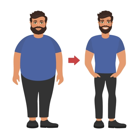 Illustration for Sad fat and happy healthy slim man. Weight loss concept. View before and after diet and sport. Cartoon characters on white background. Flat design. Vector illustration. - Royalty Free Image