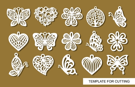 Illustration for Set of decorative pendants. Decor in shape openwork butterflies, clover leaves, round hearts and lace hearts. Template for laser cutting, wood carving, paper cut or printing. - Royalty Free Image