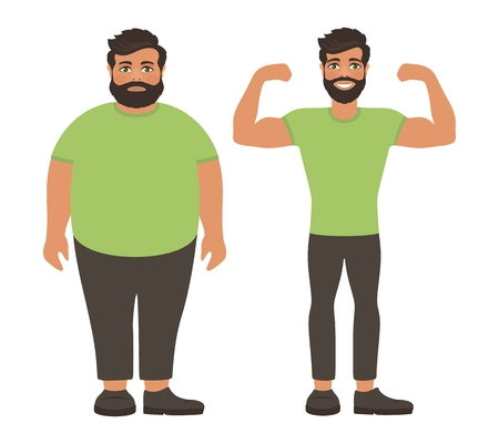 Sad fat and happy healthy slim man. Weight loss lifestyle, body care. Obesity problem. View before and after diet and sport. Cartoon characters on white background. Flat design. Vector illustration.
