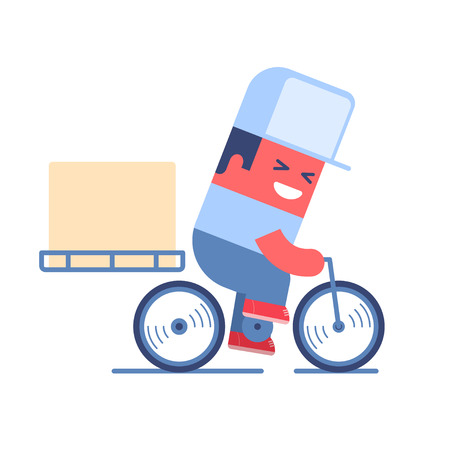 Illustration pour Delivery service. Cartoon delivery man riding a bicycle with delivery box on it. Just place your logo on the cap or box. - image libre de droit