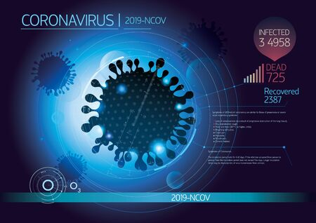 Illustration pour Graphic layout with the silhouette image of a coronavirus, as well as with the addition of design and infographic elements. - image libre de droit