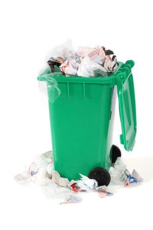 overflowing garbage bin