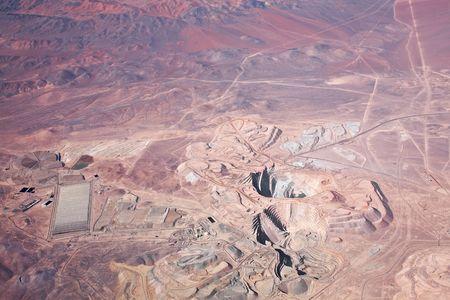 aerial view of open-pit copper mine in Atacama desert, Chile