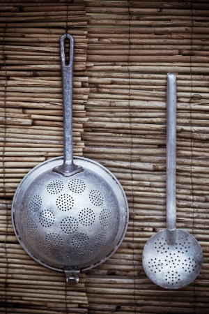colander and skimmer as a decoration