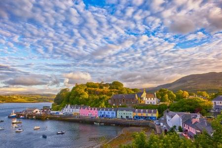 view on Portree before sunset, Isle of Skye, Scotland, UK
