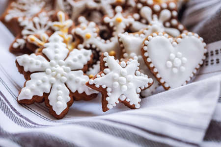 Photo for A bunch of gingerbread cookies on napkin - Royalty Free Image