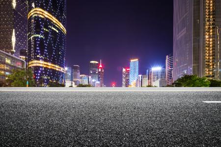asphalt road in morden city at night