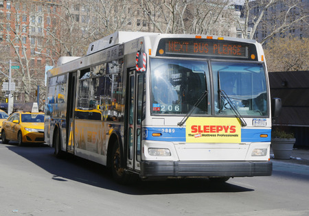 NEW YORK - FEBRUARY 19, 2015: New York City MTA bus in Manhattan. MTA Regional Bus Operations is the surface transit division of the Metropolitan Transportation Authority