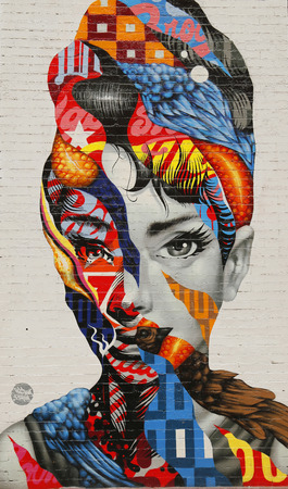 NEW YORK - FEBRUARY 26, 2015: Mural art Audrey of Mulberry by Tristan Eaton in Little Italy.