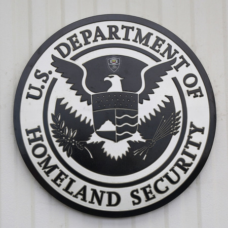 NEW YORK CITY - JULY 30, 2015: U.S. Department of Homeland Security logo at Brooklyn Cruise Terminal