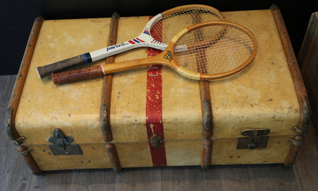 PARIS, FRANCE- MAY 25, 2015 Old wooden tennis racquets on display during Roland Garros 2015 at Le Stade Roland Garros in Paris, France