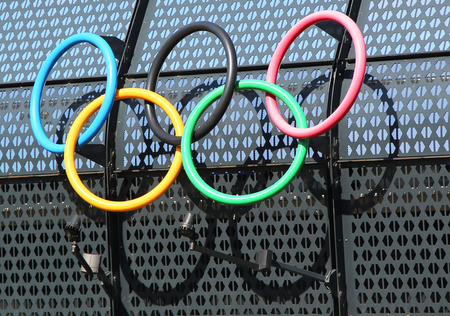MELBOURNE, AUSTRALIA - JANUARY 23, 2016: Olympic rings at Olympic Park in Melbourne, Australia. The 1956 Summer Olympics were an international multi-sport event which was held in Melbourne,  Australia