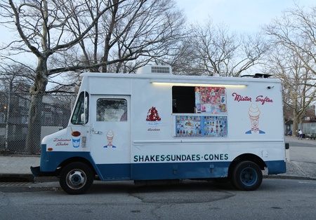 BROOKLYN, NEW YORK - APRIL 10, 2017: Ice cream truck in Brooklyn. Mister Softee is a United States-based ice cream truck franchiser popular in the Northeast founded in 1956