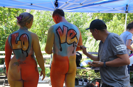 New York July 14 2018 Artists Paint Fully Nude Models Of All Shapes And Sizes During 5th Nyc Body Painting Day Featuring Artist Andy Golub On Washington Square In New York