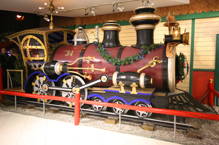 NEW YORK - DECEMBER 6, 2018: Lionel train at Macy's Santaland at Herald Square in Manhattan.  In 1924 Macy's was declared the
