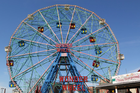Photo for BROOKLYN, NEW YORK - APRIL 23, 2019: Wonder Wheel at the Coney Island amusement park. Deno's Wonder Wheel a hundred and fifty foot eccentric Ferris wheel. This wheel was built in 1920 - Royalty Free Image