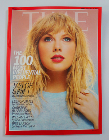 BROOKLYN, NEW YORK - MAY 5, 2019: Singer Taylor Swift featured on the cover of Times annual '100 Most Influential People in the World'  issue.